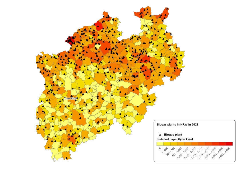 Distribution of total biogas plants in NRW in 2028